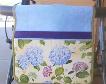 Walker Tote, Walker Caddy, Walker Bag, Blue Floral, Gift for Grandma or Mother