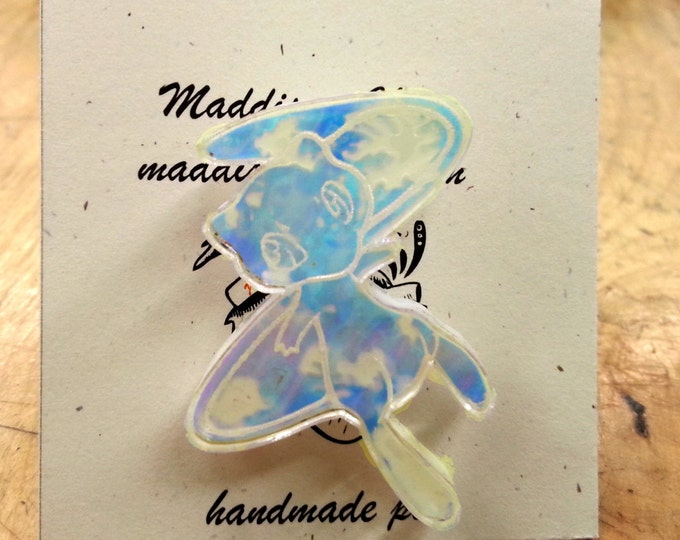 Mew Pokemon Pin | Laser Cut Jewelry | Acrylic Pin | Iridescent Acrylic