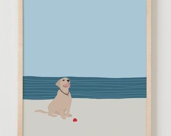 Fine Art Print.  Dog with Ball at Beach.  May 22, 2016.