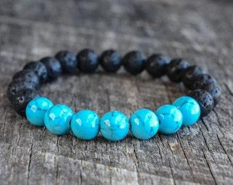8mm Howlite Turquoise Bracelet, Lava Rock Bracelet, Bead Bracelet, Mens Bracelet, Womens Bracelet, Gemstone Bracelet, Yoga Bracelet, Gifts