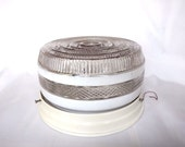 Ceiling Light Fixture Vintage White Clear Textured Glass Shade Bathroom Kitchen Hall