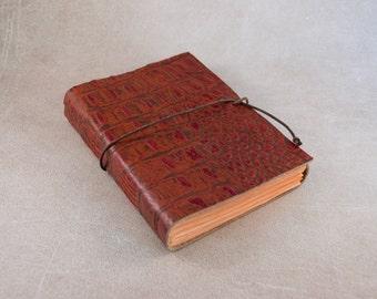 Burned orange alligator genuine cow leather journal sketchbook travel notebook