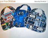 ON SALE 3 Star Wars Baby bibs,  Star Wars Bibs, Terry cloth backed baby bibs, set of 3 bibs in Star Wars prints, Millennium Falcon, R2-D2, C