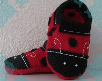 Ladybug Baby Slippers-  Red & Black Ladybug Baby Shoes