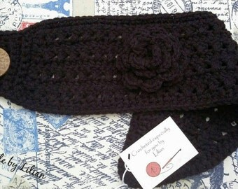 Crochet Headband with flower- made in many colors, knit ear warmer, knitted headband