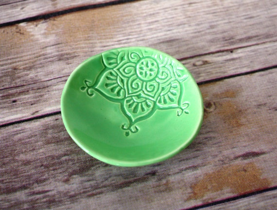 Lime green trinket dish, Handmade ring holder.  Stamped with boho star pattern, and finished with super-glossy green glaze.  In stock now!