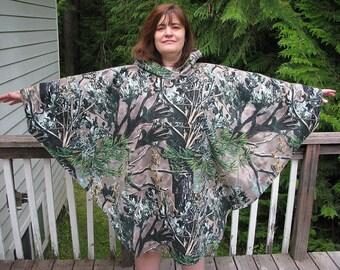 Men's Poncho, women's poncho, fleece poncho, hooded poncho, hunting poncho, camouflage poncho, camo and fleece poncho, poncho, men poncho