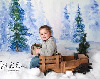 5ft x 5ft + Photography Backdrop - Winter Wonderland Backdrop, Christmas Backdrop, Holiday Backdrop, Wood Backdrop