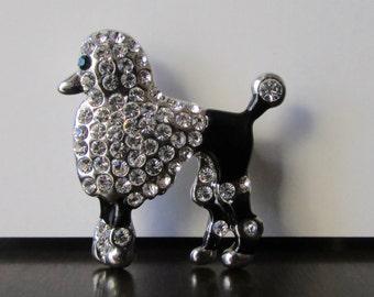 Rhinestone Poodle Brooch / Pin Pave Set Rhinestones Black Enamel