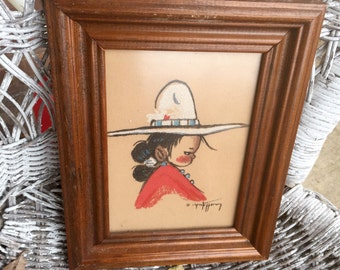 Print of a pastel drawing of a Mexican Girl in a Sombrero