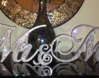 Gorgeous Bling Mr & Mrs. Sign Wedding Reception Cake Table Crystal Rhinestone