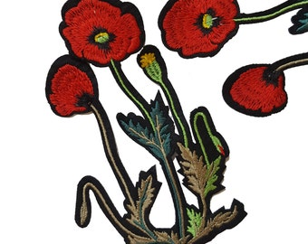 2 Iron On Embroidered Red Roses Flowers Patches Appliques