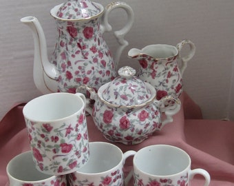 Miniature Rose Floral Tea Set Japan