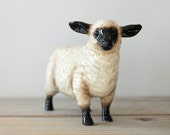 Vintage country decor sheep figurine / Lefton hand painted collectible sheep / rustic style home decor / cabin decor Suffolk sheep figurine