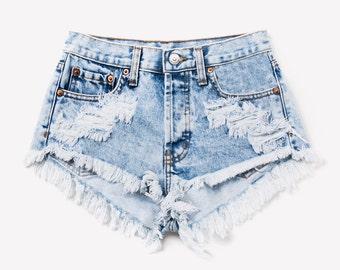 Acid Denim Cut Off Frayed Shorts XXL