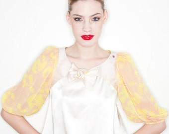 Yellow-pink silk bolero jacket with elbow-length sleeves - perfect accessory for sleeveless summer dresses - SALE!