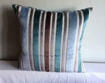 """Teal, blue, grey, beige,brown striped 16"""" cushion cover,  pillow, scatter cushion."""