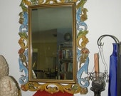 """15% OFF Vintage Syroco Painted Ornate Framed Mirror,  size approx 29"""" x 20"""""""