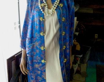 Timeless Silk Brocade Peony Oriental Turquoise Long Maxi Robe, Jacket, 3/4 Sleeve, Frog Closure, sz S