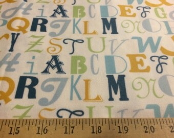 """Annette Tatum Little House Letters blue FAT01 100% cotton flannel fabric 44"""" wide sold by the yard."""