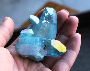 Aqua Aura Quartz Crystal Cluster 73.5 grams  #45466