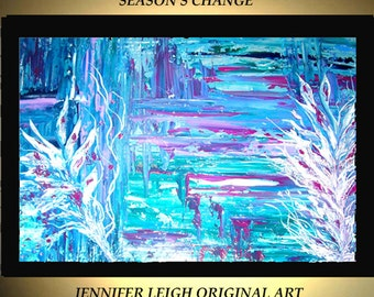Original Large Abstract Painting Modern Acrylic Painting Oil Painting Canvas Art Blue Green SEASON'S CHANGE 36x24 Textured Wall Art  J.LEIGH