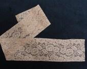 Café coloured antique fine French Alençon cotton lace piece - 3 1/4 inches by 25 1/2 inches