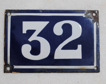 Vintage French enamel cobalt blue and white house number plaque - number 32