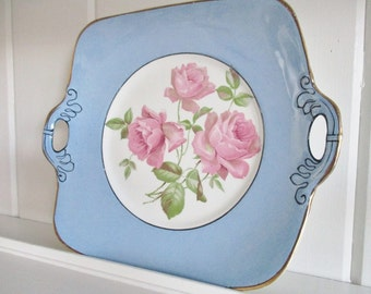 Vintage Winton Ware blue china cake plate, Grimwades Stoke on Trent, England,  blue cake plate with centre pink roses, excellent condition