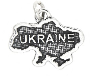 Sterling Silver Textured Country Map of Ukraine Charm