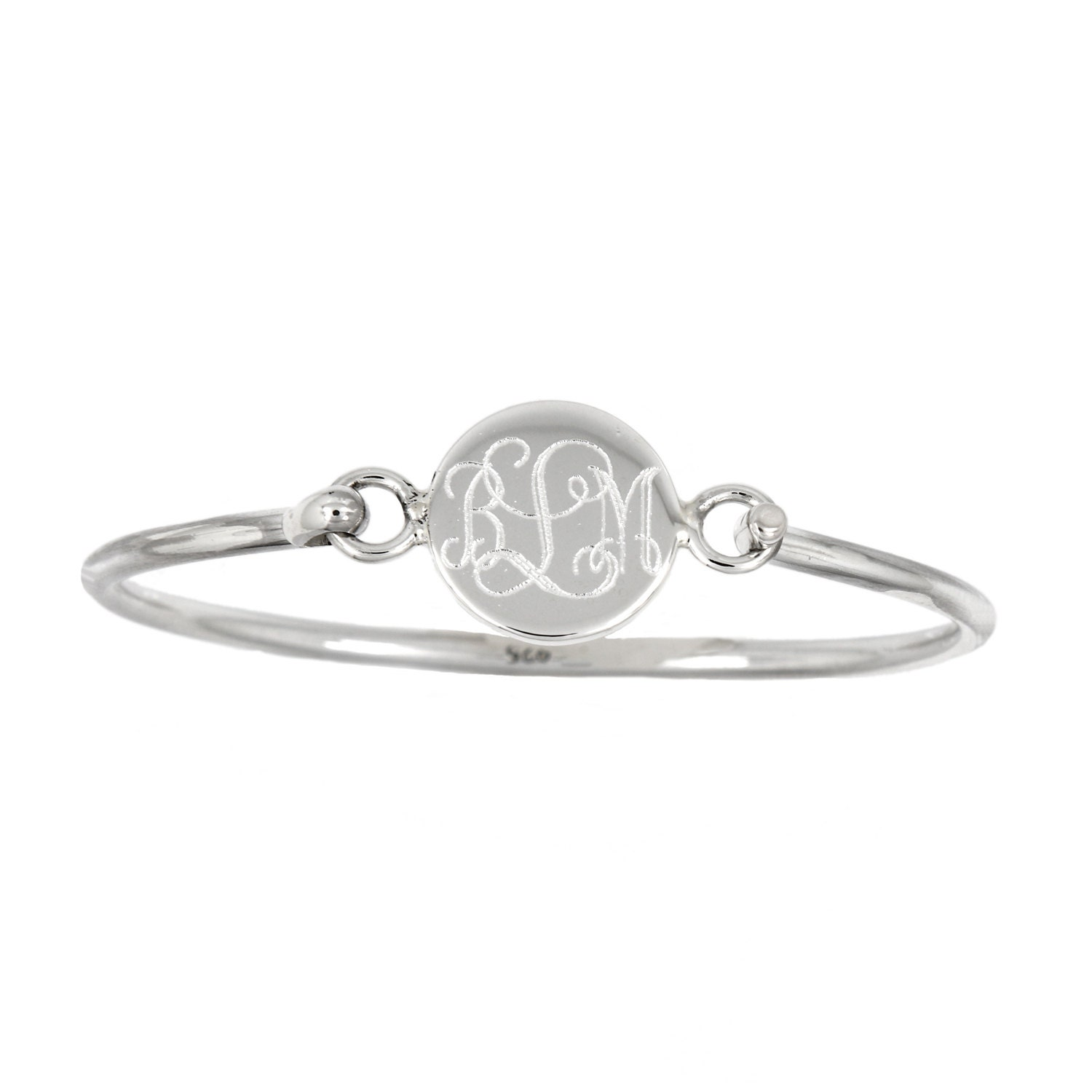 sterling silver monogrammable engravable round bangle bracelet. Black Bedroom Furniture Sets. Home Design Ideas