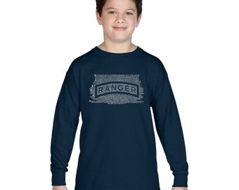 Boy's Long Sleeve T-shirt - The US Ranger Creed Created using The Ranger Creed