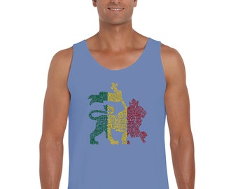 Men's Tank Top - Rasta Lion - One Love Created using the words One Love