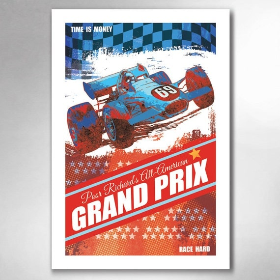 Poor Richards All American Grand Prix 13x19 Art Print by Rob Ozborne