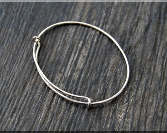 Sterling Silver Hammered Expandable Bangle Bracelet, Adjustable Bangle, Layering Bangle, Charm Bracelet, Stacking Bangle, Silver Bracelet