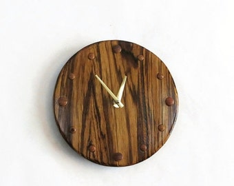 Sale, Unique Wood Wall Clock, Zebrawood Clock,  Rustic Wall Clock, Home and Living, Home Decor, Decor and Housewares
