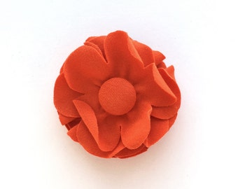 Flower Hair Clip - Fabric Flower Brooch - Orange Flower - Recycled Tshirt Knit Fabric Flower Pin - Flower Hair Accessory - Upcycled Tee