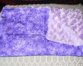 purple flower novelty print fabric baby blanket faux fur back