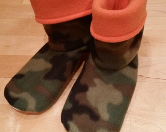 Adult or Youth fleece slipper socks, brown toned camouflage and orange, double layered & reversible