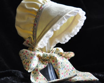 Yellow Calico Baby Bonnet Beautiful Easter Bonnet