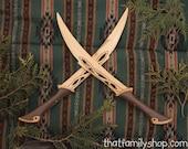 Tauriel's Blades Wood Replica Dagger Knives Sword LOTR Hobbit