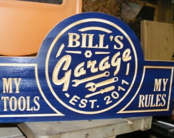 Garage sign   Custom  Carved Wood Sign