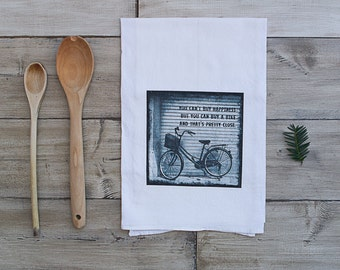 Bike Tea Towel | Fun Kitchen Decor | You Can't Buy Happiness But You Can Buy A Bike And That's Pretty Close