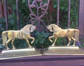 SALE Vintage Dressage Brass Horses Book Ends