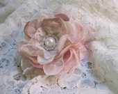 Hair Clip Multiple Textures in Shades of Pink Champagne ivory and lace Flower Hair Clip Bride Bridesmaids with Pearl and Rhinestone Accent
