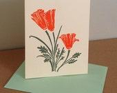 Single California Poppies Linocut Greeting Card in Orange and Sage