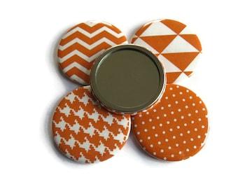 1 x Orange Fabric Covered Pocket Mirror - Fabric Covered Handbag Mirror - Small Handbag Mirror
