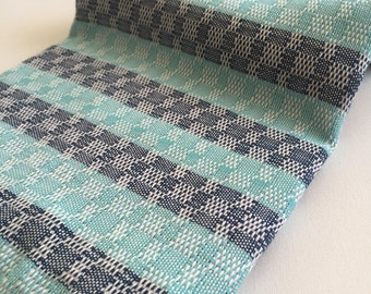 Turkish Beach Towel Peshtemal towel in denim and Turquoise blue color Cotton genuine hand loomed soft, light weight