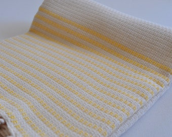 Bath and beach Towel Turkish Towel for beach and bath in ivory with yellow stripes waffled peshtemal towel