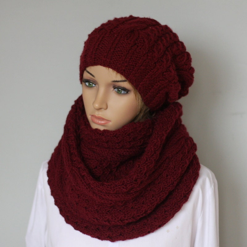 beautiful handmade knit hat and scarf womens slouchy beanie
